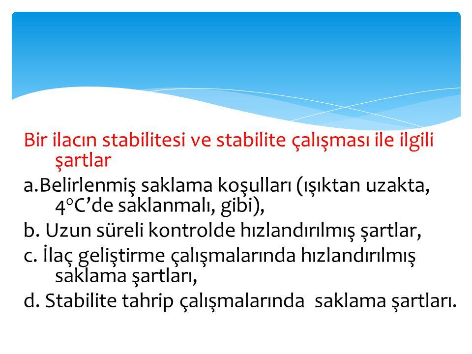 Bir ilacın stabilitesi ve stabilite çalışması ile ilgili şartlar a