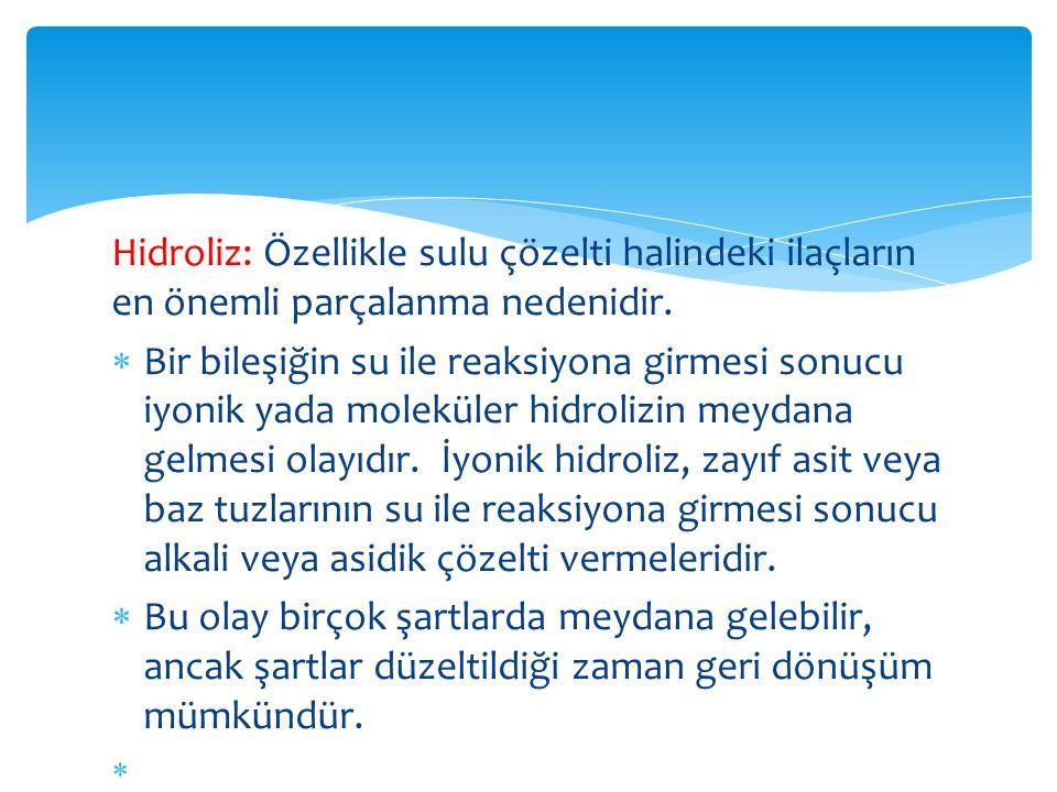 Hidroliz: Özellikle sulu çözelti halindeki ilaçların en önemli parçalanma nedenidir.