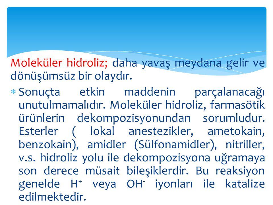Moleküler hidroliz; daha yavaş meydana gelir ve dönüşümsüz bir olaydır.