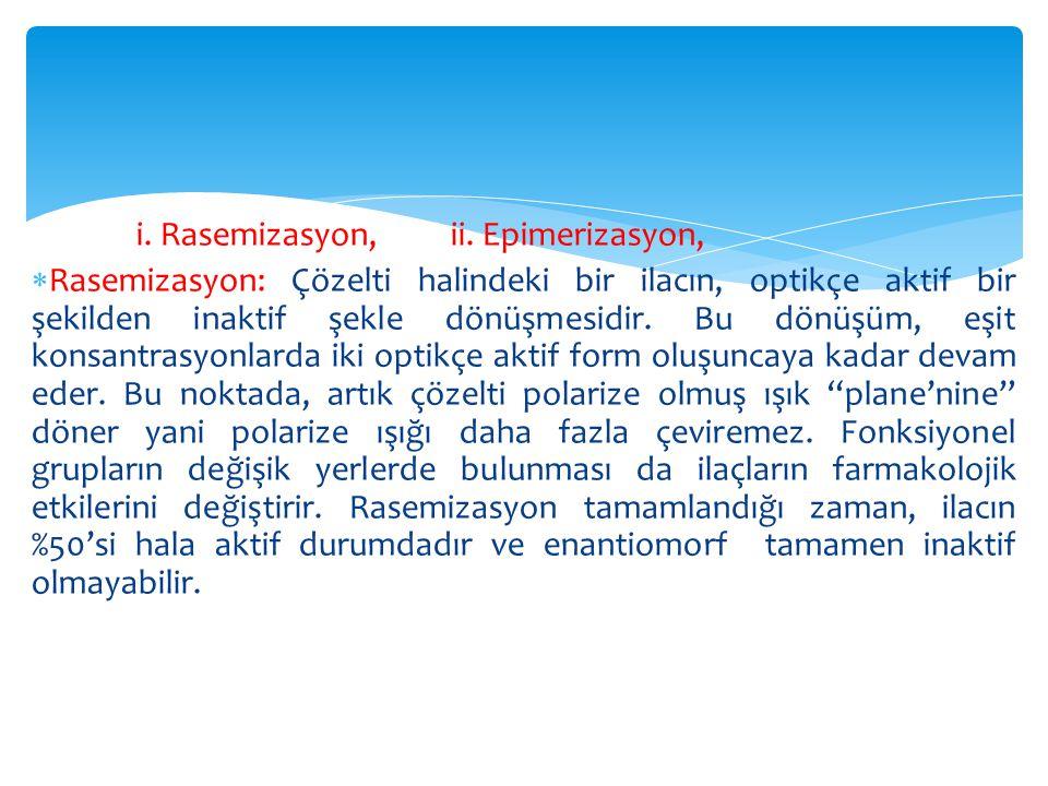 i. Rasemizasyon, ii. Epimerizasyon,