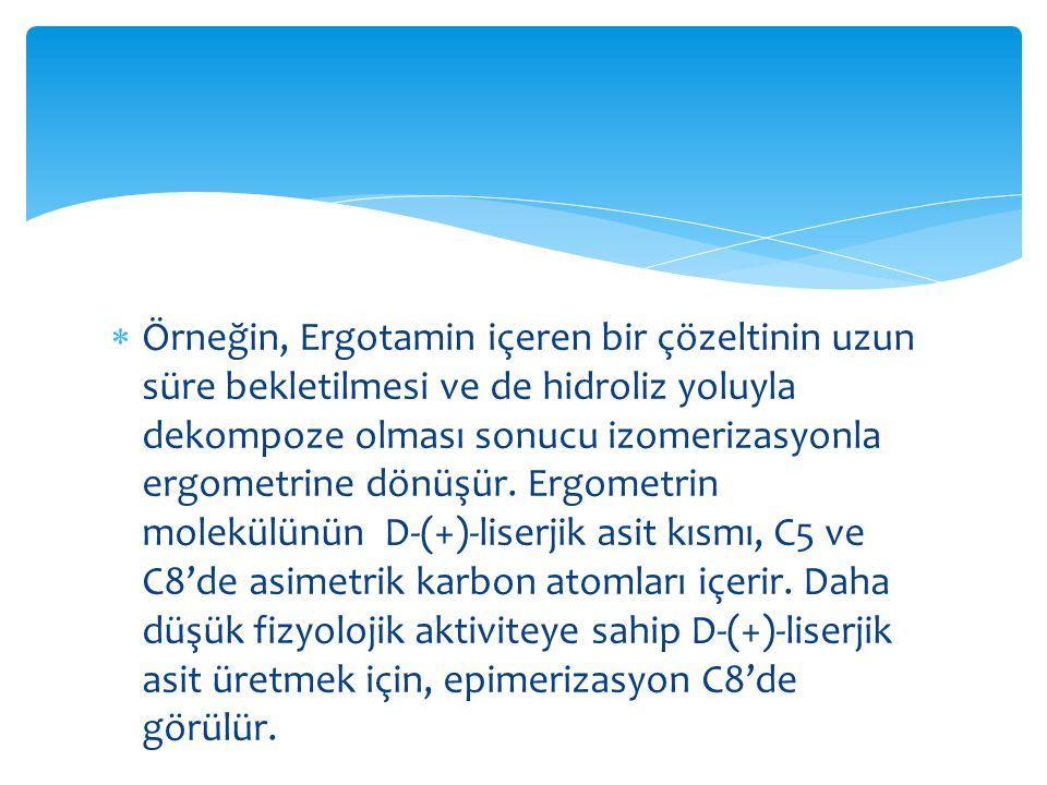 Örneğin, Ergotamin içeren bir çözeltinin uzun süre bekletilmesi ve de hidroliz yoluyla dekompoze olması sonucu izomerizasyonla ergometrine dönüşür.