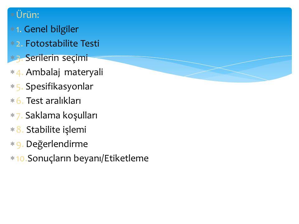 Ürün: 1. Genel bilgiler. 2. Fotostabilite Testi. 3. Serilerin seçimi. 4. Ambalaj materyali. 5. Spesifikasyonlar.
