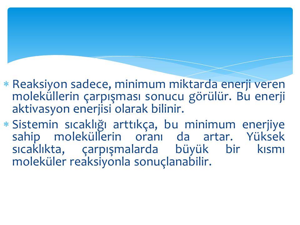 Reaksiyon sadece, minimum miktarda enerji veren moleküllerin çarpışması sonucu görülür. Bu enerji aktivasyon enerjisi olarak bilinir.