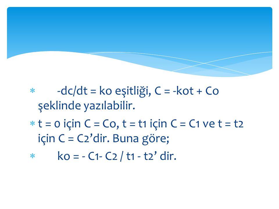 -dc/dt = ko eşitliği, C = -kot + Co şeklinde yazılabilir.