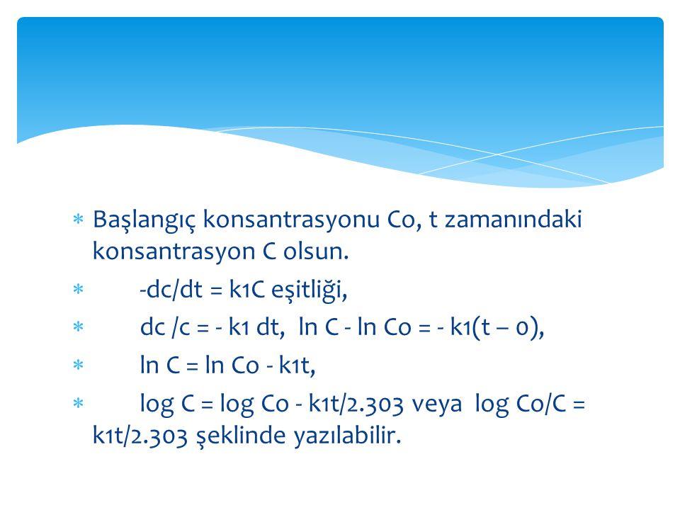Başlangıç konsantrasyonu Co, t zamanındaki konsantrasyon C olsun.