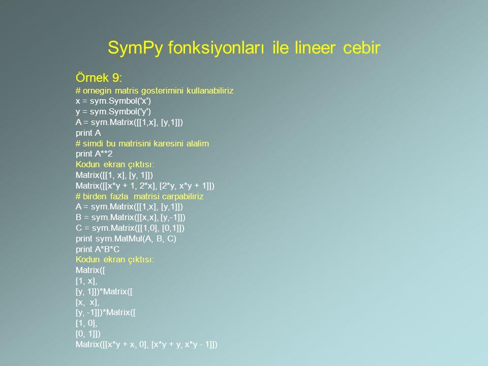 SymPy fonksiyonları ile lineer cebir