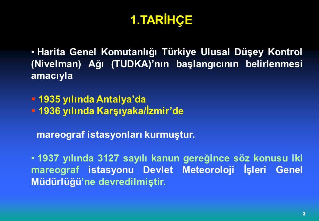 1.TARİHÇE Harita Genel Komutanlığı Türkiye Ulusal Düşey Kontrol (Nivelman) Ağı (TUDKA)'nın başlangıcının belirlenmesi amacıyla.
