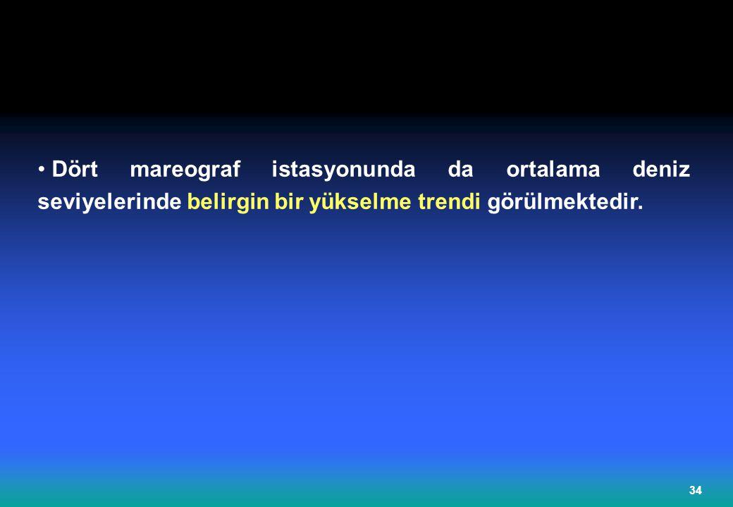 Dört mareograf istasyonunda da ortalama deniz seviyelerinde belirgin bir yükselme trendi görülmektedir.