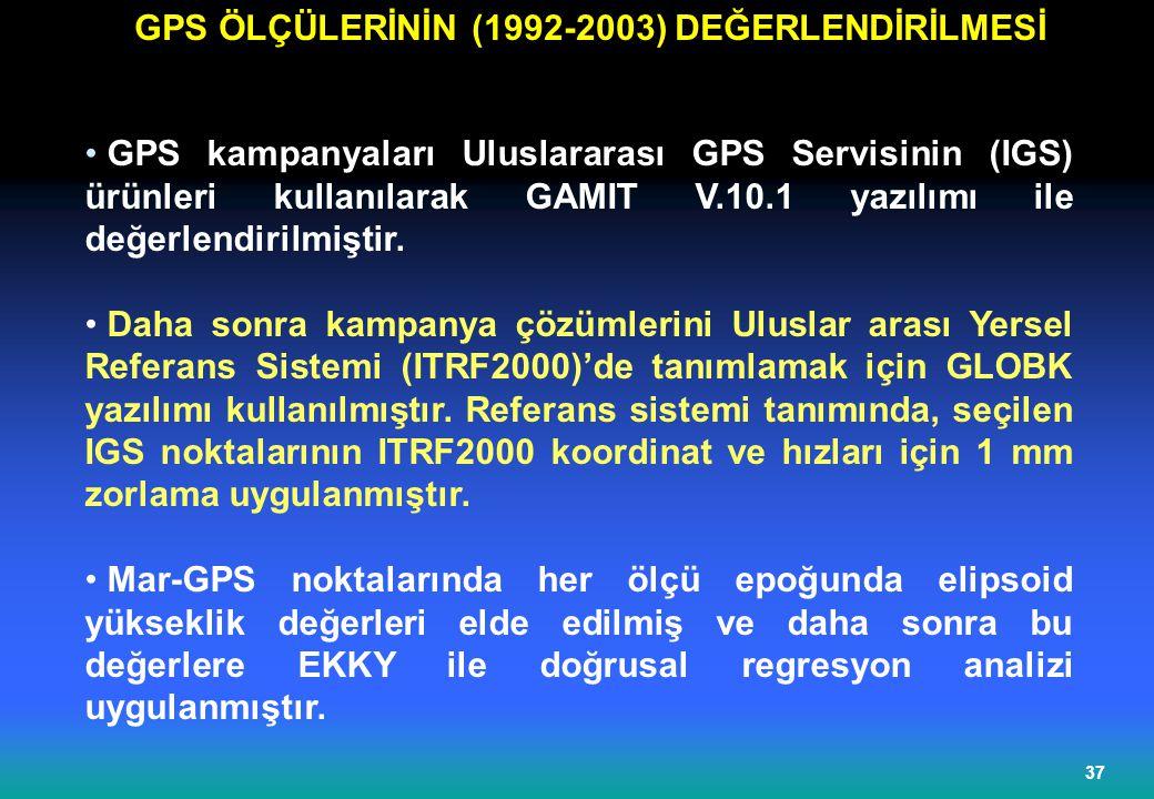 GPS ÖLÇÜLERİNİN (1992-2003) DEĞERLENDİRİLMESİ