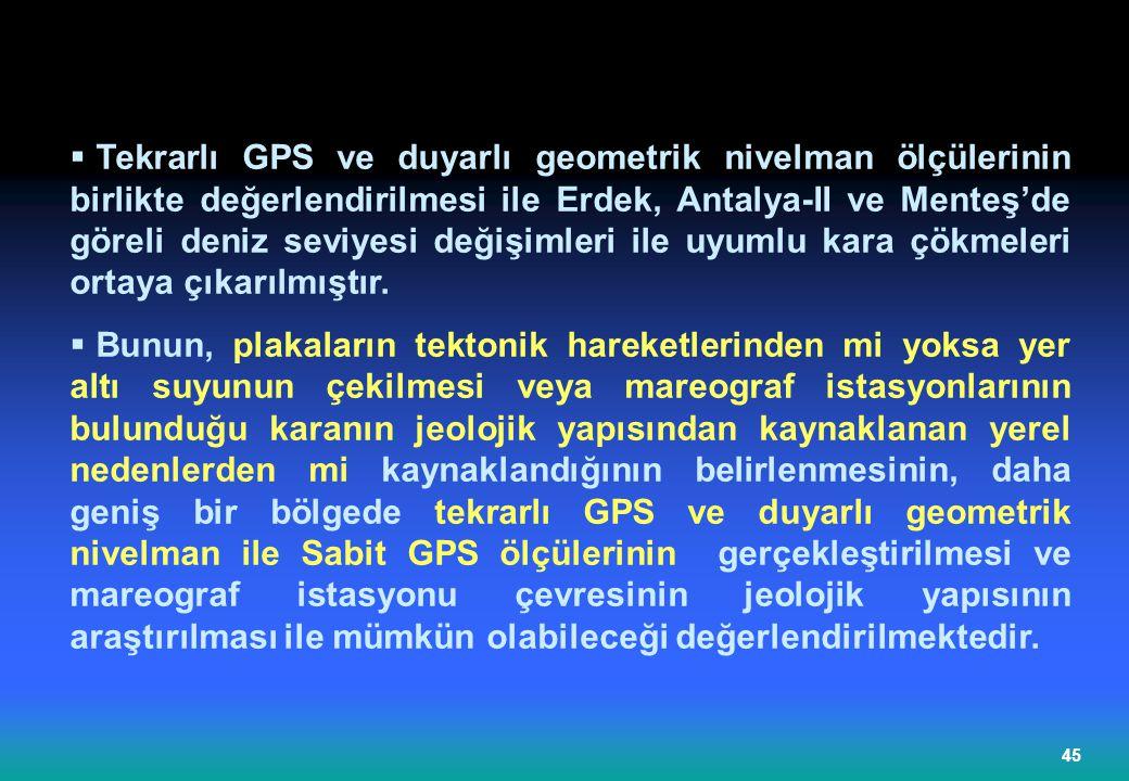Tekrarlı GPS ve duyarlı geometrik nivelman ölçülerinin birlikte değerlendirilmesi ile Erdek, Antalya-II ve Menteş'de göreli deniz seviyesi değişimleri ile uyumlu kara çökmeleri ortaya çıkarılmıştır.