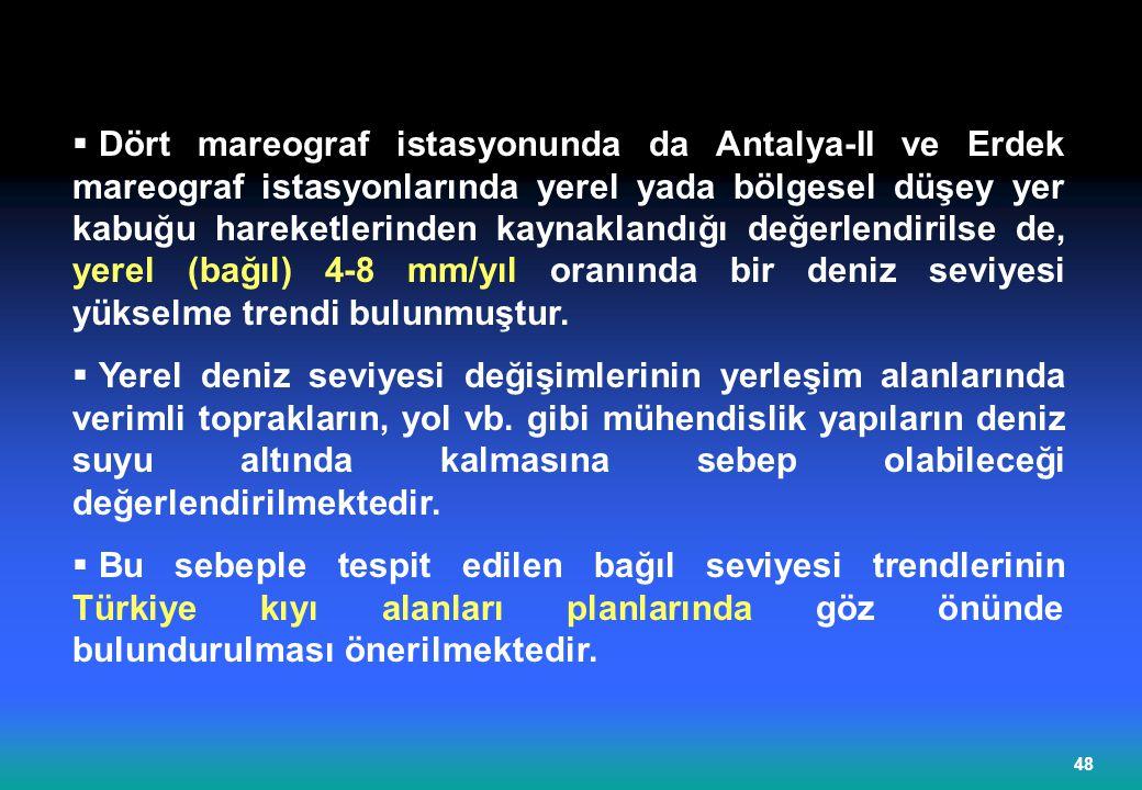 Dört mareograf istasyonunda da Antalya-II ve Erdek mareograf istasyonlarında yerel yada bölgesel düşey yer kabuğu hareketlerinden kaynaklandığı değerlendirilse de, yerel (bağıl) 4-8 mm/yıl oranında bir deniz seviyesi yükselme trendi bulunmuştur.