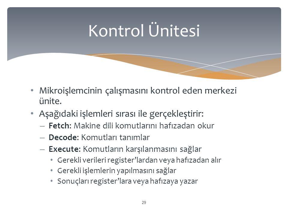 Kontrol Ünitesi Mikroişlemcinin çalışmasını kontrol eden merkezi ünite. Aşağıdaki işlemleri sırası ile gerçekleştirir: