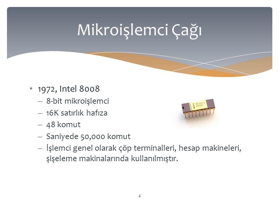 Mikroişlemci Çağı 1972, Intel 8008 8-bit mikroişlemci