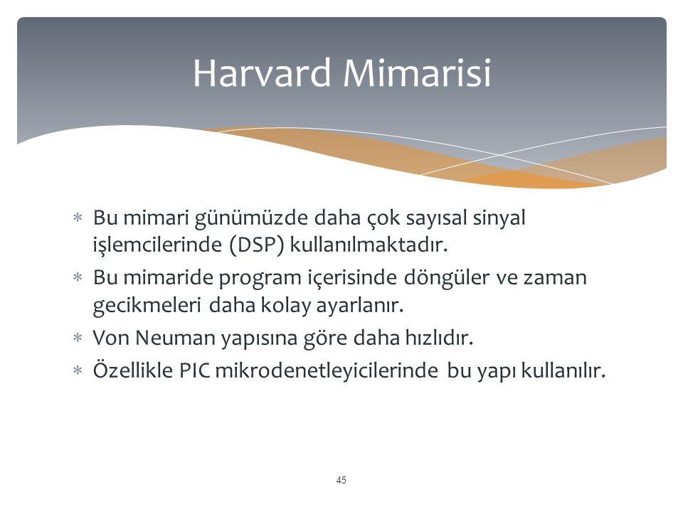 Harvard Mimarisi Bu mimari günümüzde daha çok sayısal sinyal işlemcilerinde (DSP) kullanılmaktadır.
