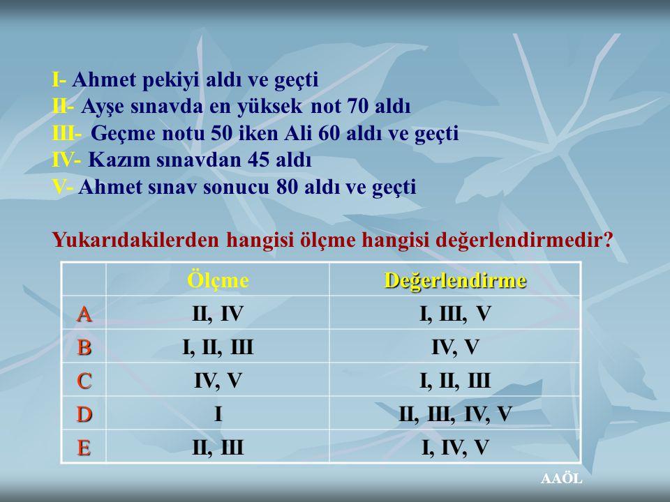 I- Ahmet pekiyi aldı ve geçti II- Ayşe sınavda en yüksek not 70 aldı