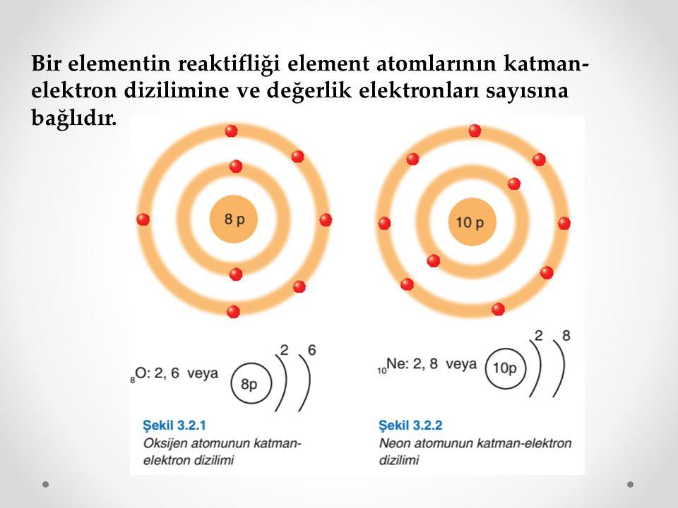 Bir elementin reaktifliği element atomlarının katman-elektron dizilimine ve değerlik elektronları sayısına bağlıdır.