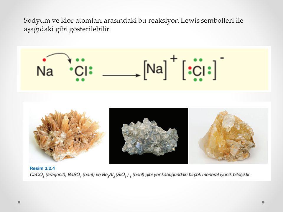 Sodyum ve klor atomları arasındaki bu reaksiyon Lewis sembolleri ile aşağıdaki gibi gösterilebilir.