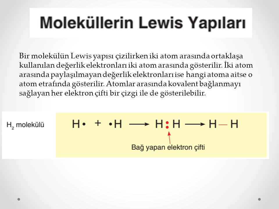 Bir molekülün Lewis yapısı çizilirken iki atom arasında ortaklaşa kullanılan değerlik elektronları iki atom arasında gösterilir.