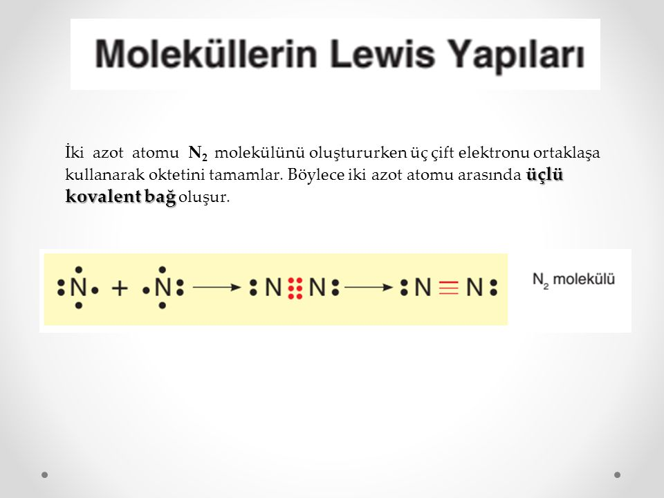 İki azot atomu N2 molekülünü oluştururken üç çift elektronu ortaklaşa kullanarak oktetini tamamlar.
