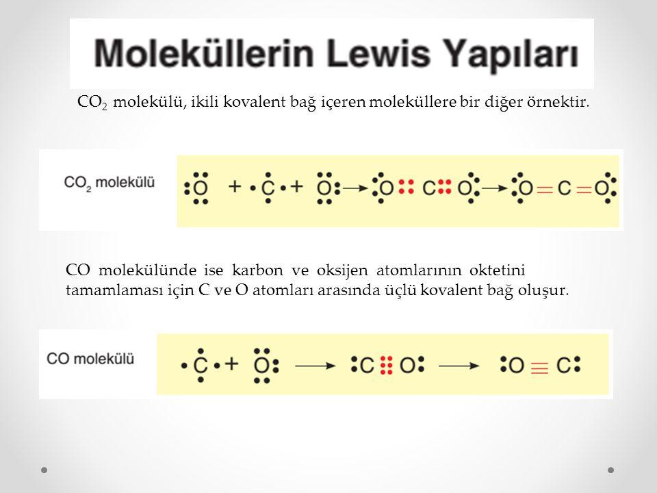 CO2 molekülü, ikili kovalent bağ içeren moleküllere bir diğer örnektir.