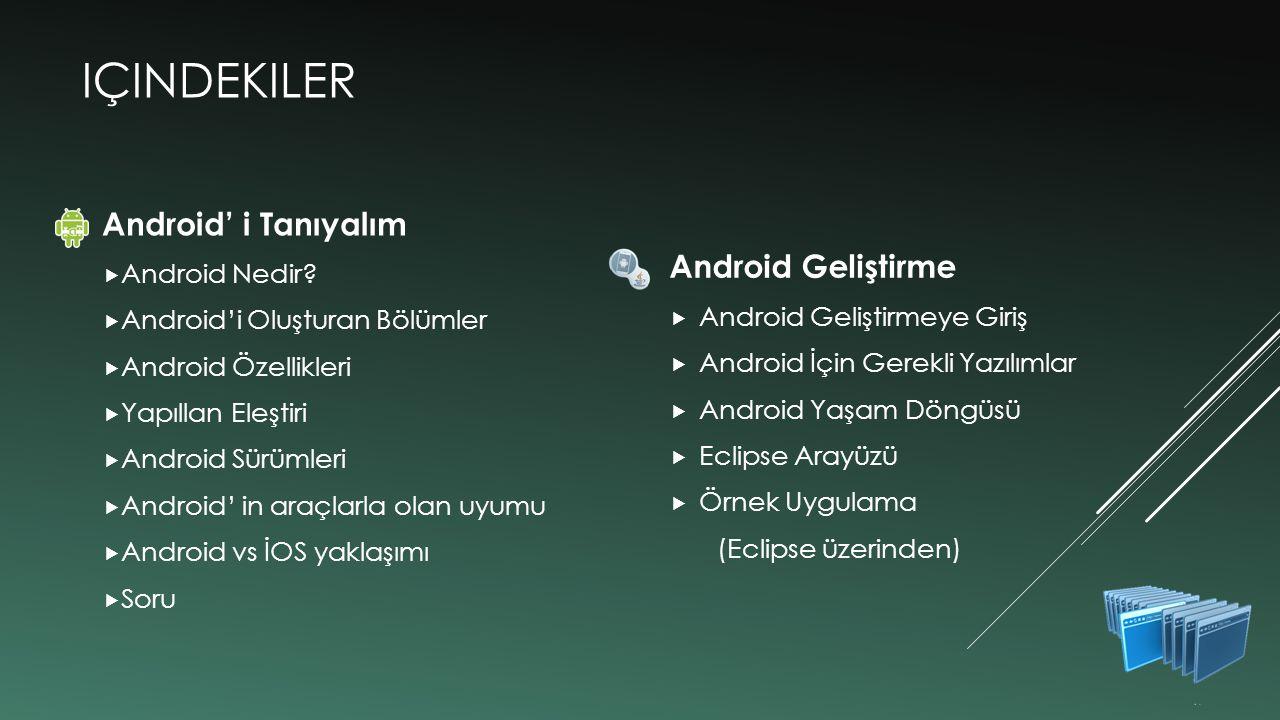 içindekiler Android' i Tanıyalım Android Geliştirme Android Nedir