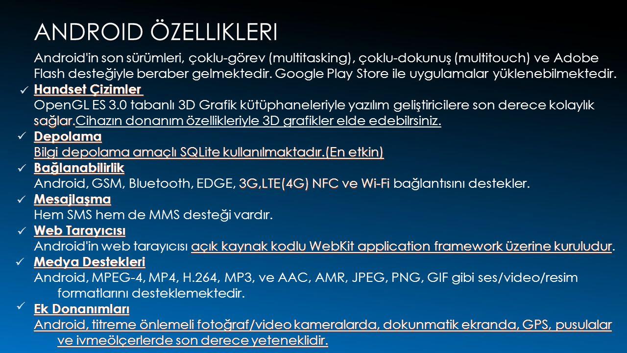 Android özellikleri