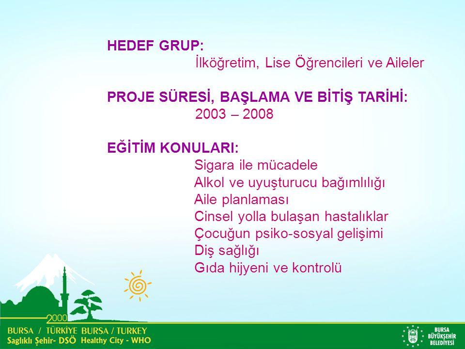 HEDEF GRUP: İlköğretim, Lise Öğrencileri ve Aileler. PROJE SÜRESİ, BAŞLAMA VE BİTİŞ TARİHİ: 2003 – 2008.