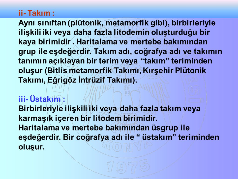 ii- Takım :