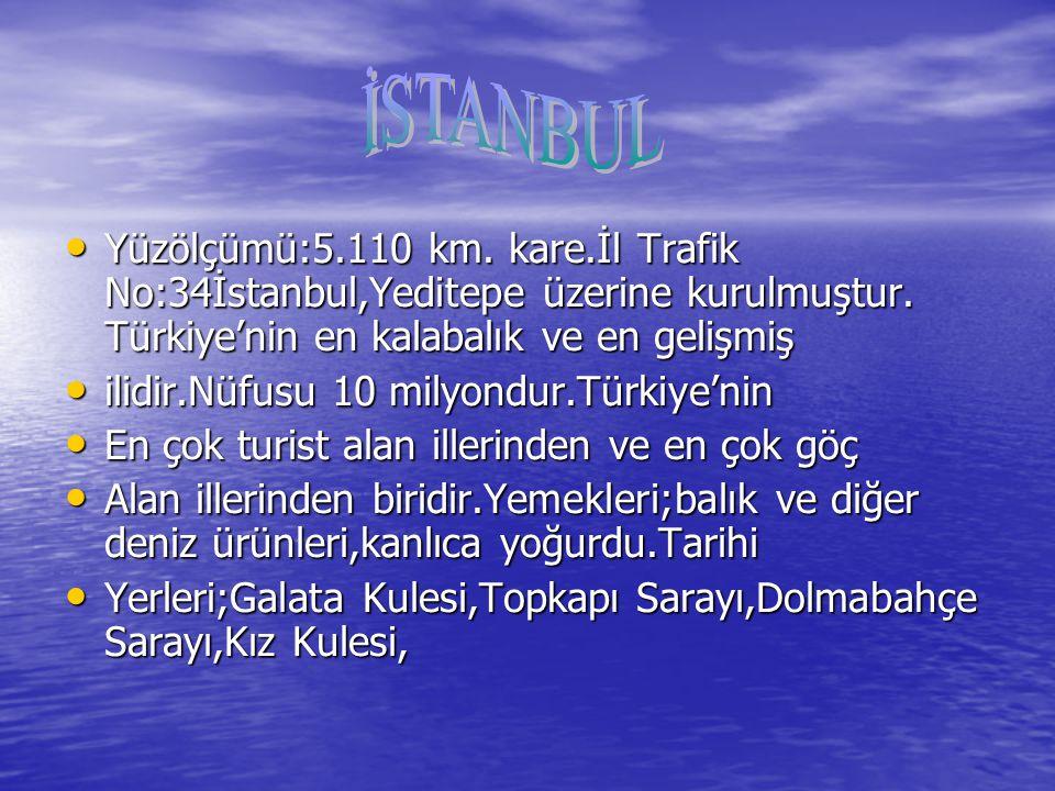 İSTANBUL Yüzölçümü:5.110 km. kare.İl Trafik No:34İstanbul,Yeditepe üzerine kurulmuştur. Türkiye'nin en kalabalık ve en gelişmiş.