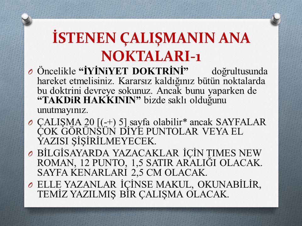 İSTENEN ÇALIŞMANIN ANA NOKTALARI-1