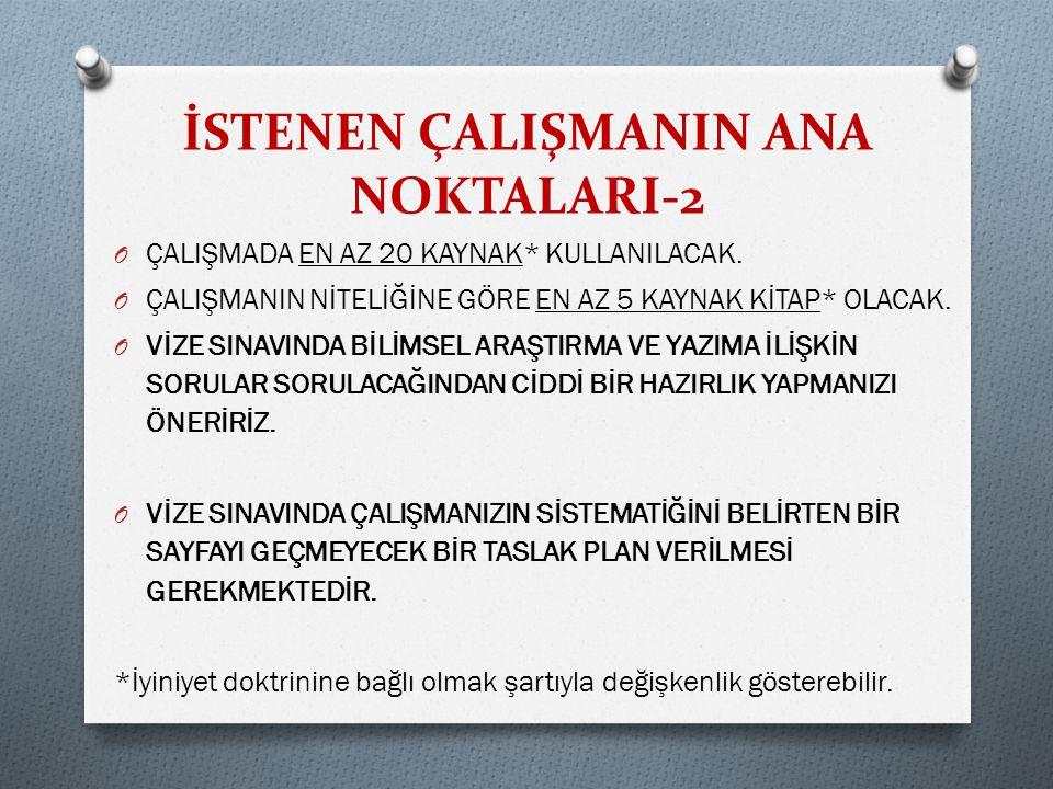 İSTENEN ÇALIŞMANIN ANA NOKTALARI-2