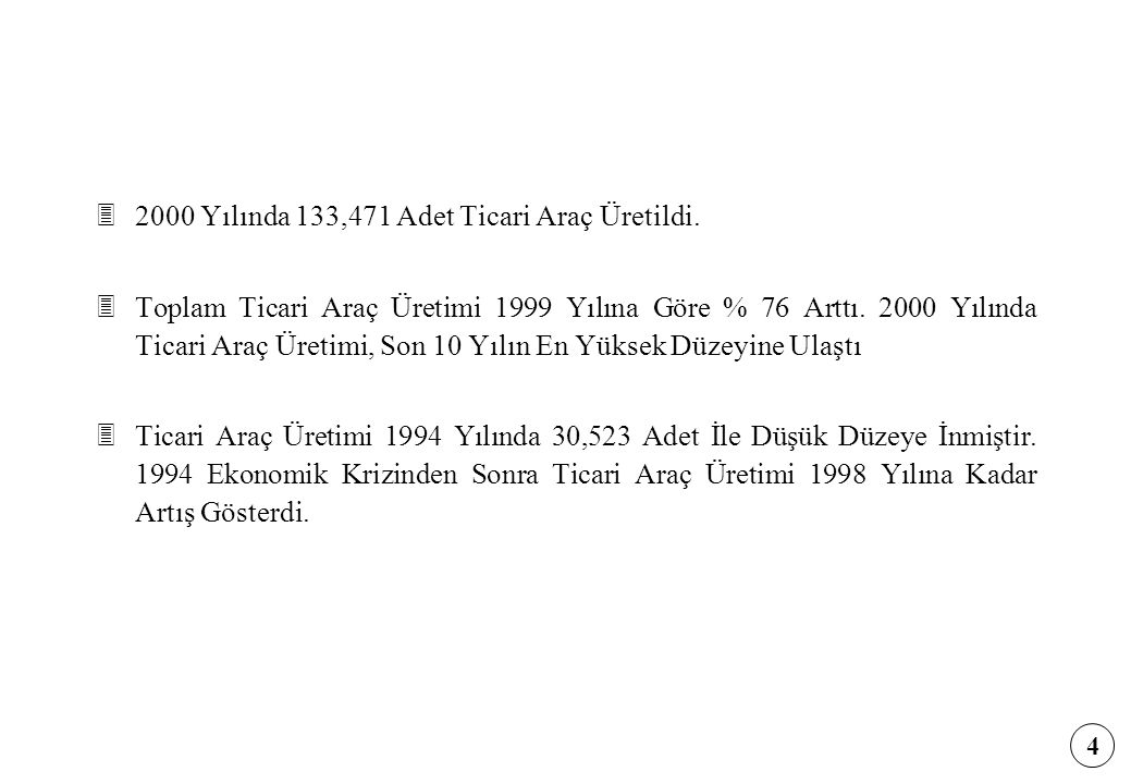 2000 Yılında 133,471 Adet Ticari Araç Üretildi.