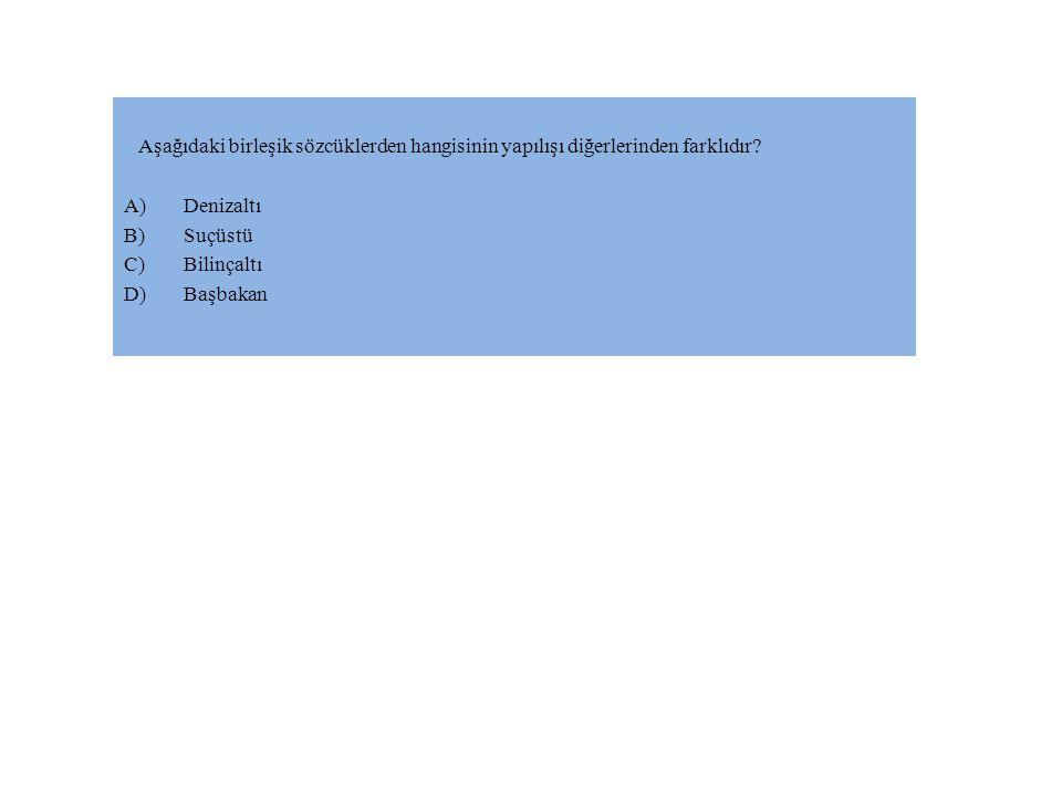 Aşağıdaki birleşik sözcüklerden hangisinin yapılışı diğerlerinden farklıdır