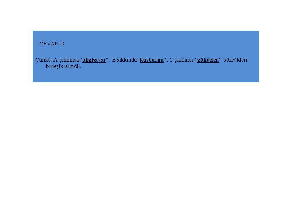 CEVAP: D Çünkü; A şıkkında bilgisayar , B şıkkında kuşburnu , C şıkkında gökdelen sözcükleri birleşik isimdir.