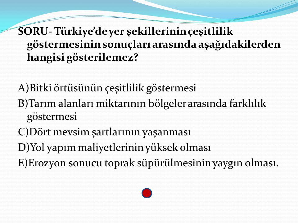 SORU- Türkiye'de yer şekillerinin çeşitlilik göstermesinin sonuçları arasında aşağıdakilerden hangisi gösterilemez