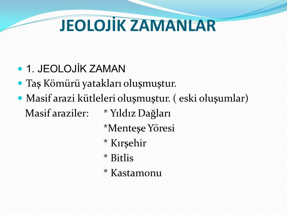 JEOLOJİK ZAMANLAR 1. JEOLOJİK ZAMAN Taş Kömürü yatakları oluşmuştur.