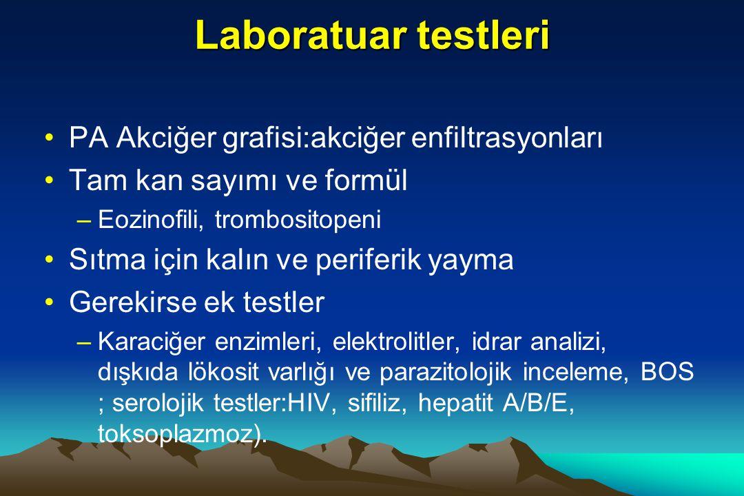 Laboratuar testleri PA Akciğer grafisi:akciğer enfiltrasyonları
