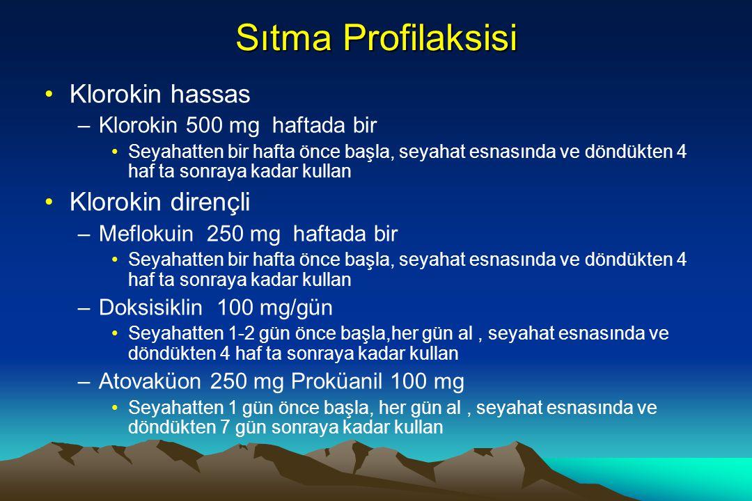 Sıtma Profilaksisi Klorokin hassas Klorokin dirençli