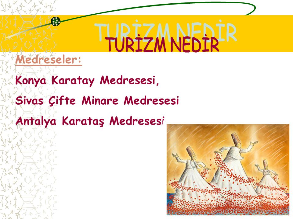 TURİZM NEDİR Medreseler: Konya Karatay Medresesi,