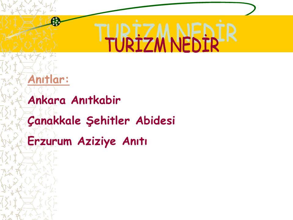 TURİZM NEDİR Anıtlar: Ankara Anıtkabir Çanakkale Şehitler Abidesi