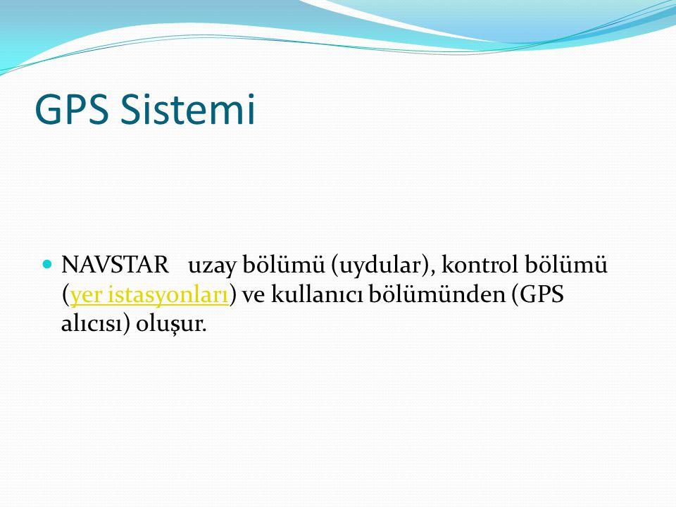 GPS Sistemi NAVSTAR uzay bölümü (uydular), kontrol bölümü (yer istasyonları) ve kullanıcı bölümünden (GPS alıcısı) oluşur.