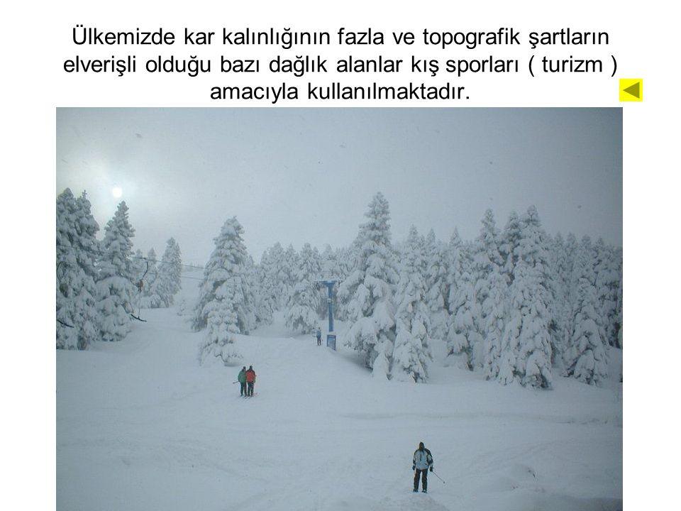 Ülkemizde kar kalınlığının fazla ve topografik şartların elverişli olduğu bazı dağlık alanlar kış sporları ( turizm ) amacıyla kullanılmaktadır.