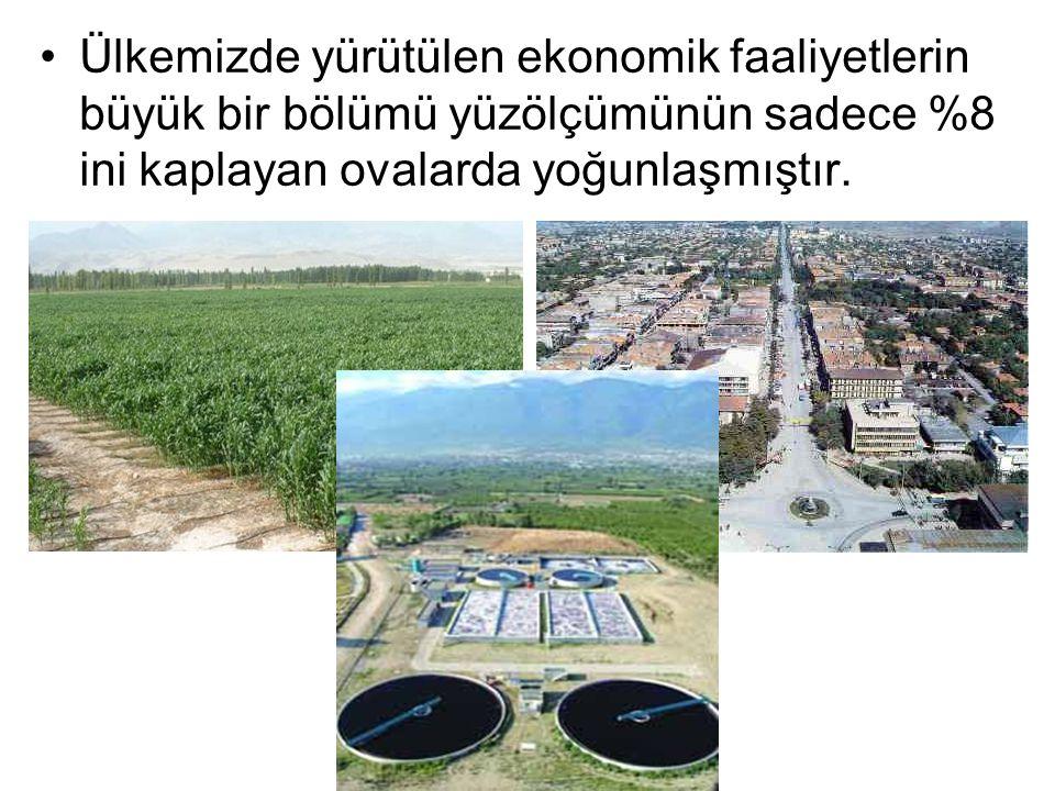 Ülkemizde yürütülen ekonomik faaliyetlerin büyük bir bölümü yüzölçümünün sadece %8 ini kaplayan ovalarda yoğunlaşmıştır.