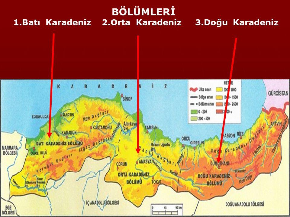 1.Batı Karadeniz 2.Orta Karadeniz 3.Doğu Karadeniz