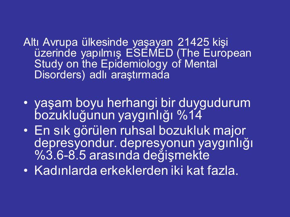 yaşam boyu herhangi bir duygudurum bozukluğunun yaygınlığı %14