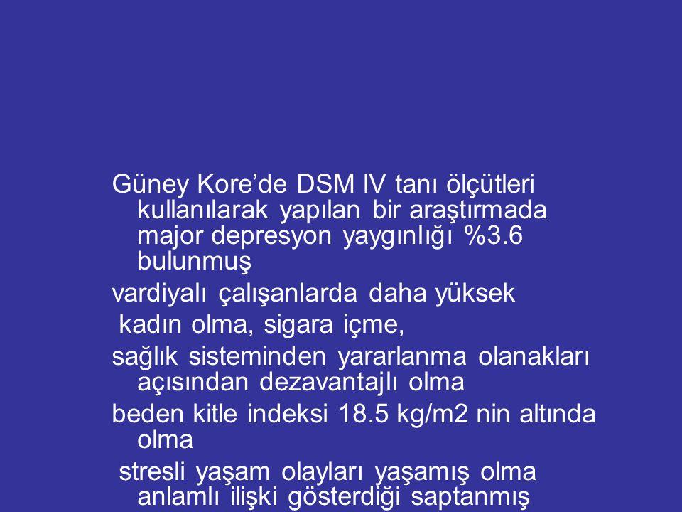 Güney Kore'de DSM IV tanı ölçütleri kullanılarak yapılan bir araştırmada major depresyon yaygınlığı %3.6 bulunmuş