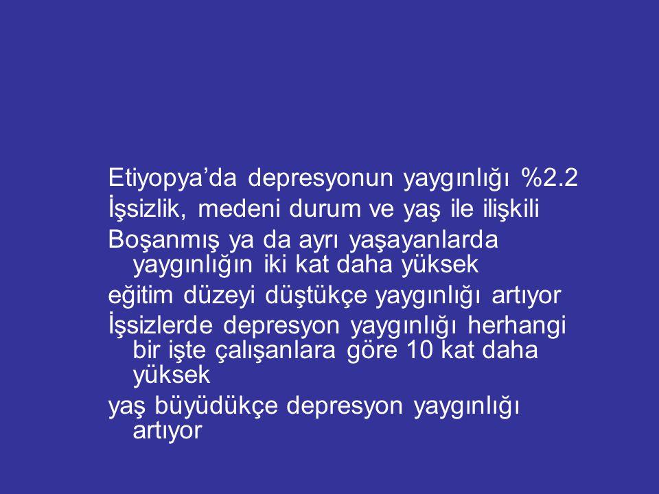 Etiyopya'da depresyonun yaygınlığı %2.2
