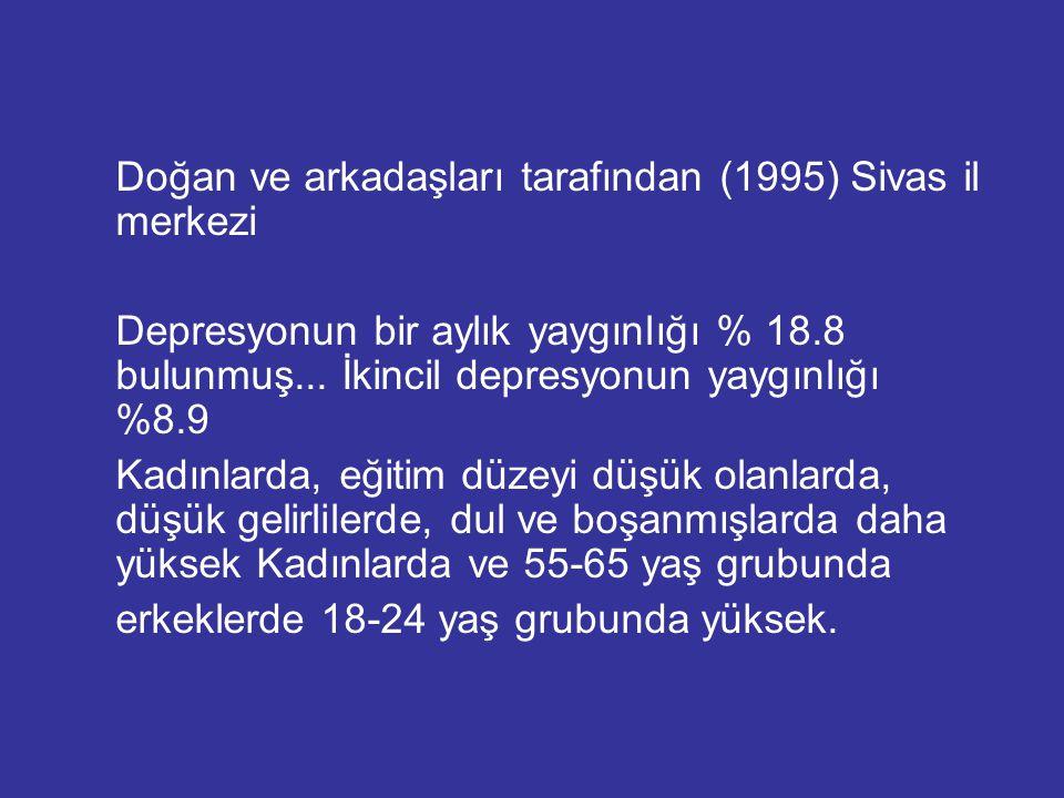 Doğan ve arkadaşları tarafından (1995) Sivas il merkezi