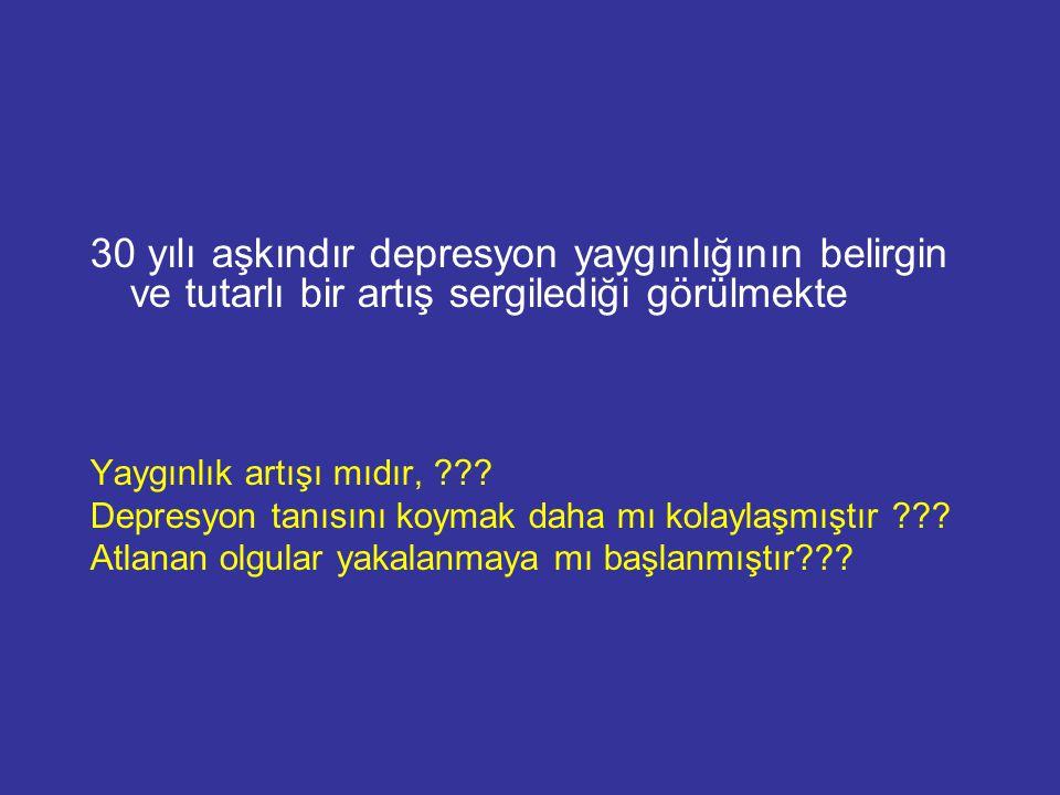 30 yılı aşkındır depresyon yaygınlığının belirgin ve tutarlı bir artış sergilediği görülmekte
