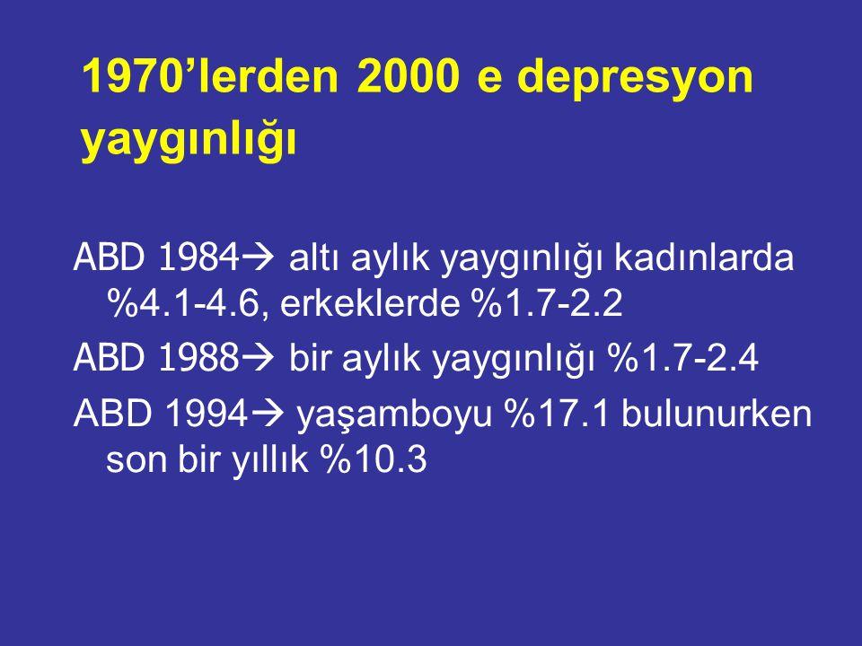 1970'lerden 2000 e depresyon yaygınlığı